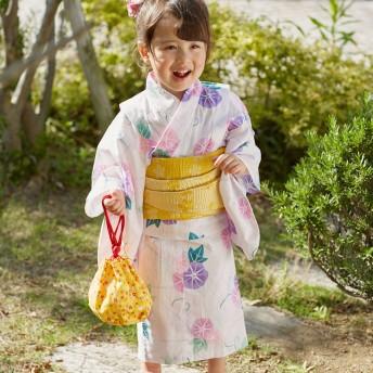 ミキハウス ミニうさ&小花柄の巾着 黄
