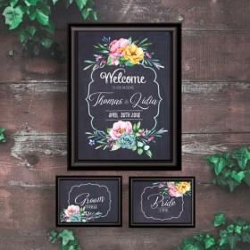 【無料で受付サイン付】ウェルカムボード 黒板 チョークボード ピンク 水彩 花 ウェディング 結婚式 A3