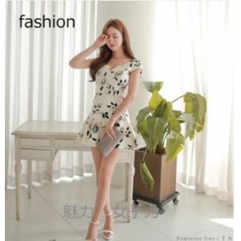 韓国ファッション タイトスカート ミニ丈 花柄ミニドレス 半袖 セクシー 韓国スタイル 上品 パーティー セクシ
