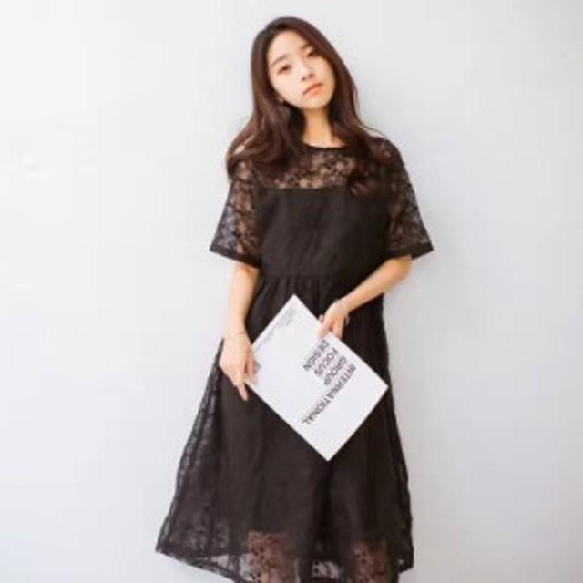 319ee7d56608b レトロ パーティー ドレス レース ボタニカル風 カジュアル 結婚式 韓国 20代 30代 40代