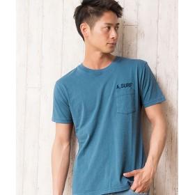 シルバーバレット CavariA胸ポケット付き刺繍入りバイオウォッシュ加工クルーネック半袖Tシャツ メンズ ネイビー 44(M) 【SILVER BULLET】