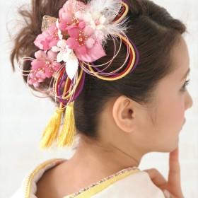 和装小物 - SOUBIEN 髪飾り2個セット 成人式 振袖 浴衣 花 フラワー ピンク 桜 レース 羽 水引 組紐 房飾り 髪留め 髪かざり 振り袖 ヘアアクセサリー