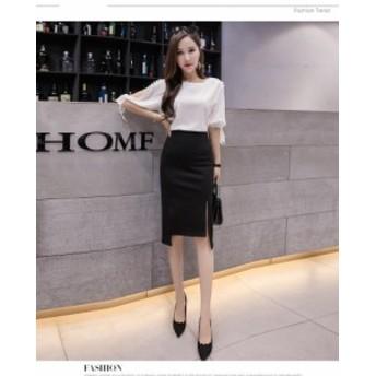 タイトスカートセクシースカートビジネススカート大きいサイズススリットスカート着痩せスカート通勤黒~6L