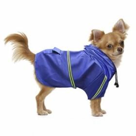 Leeko ペット用 レインコート 犬 ポンチョ 中型犬 小型犬 カッパ 雨具 反射テープ 通気性 撥水 リード穴付き 梅雨対策(L,ブルー)