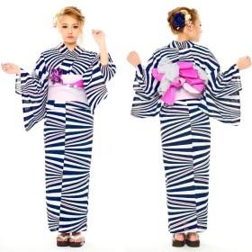 浴衣 - SWEET ANGEL 浴衣8点セット/YS339/紫x白 セクシー 華やか ストライプ 黒 ユニーク