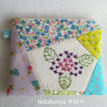 紫陽花の手刺繍*ポーチ*紫