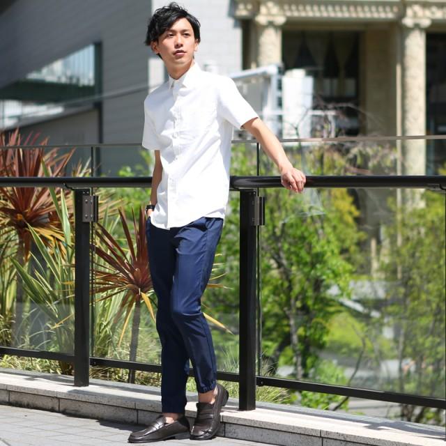 6182d5427b9 シャツ - improves メンズファッション シャツ メンズ 綿麻ナチュラルストレッチオックス半袖シャツ リネンシャツ