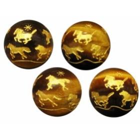 【彫刻ビーズ・彫りビーズ】九頭馬-タイガーアイ(金色)14mm 1粒売り 天然石 パワーストーン