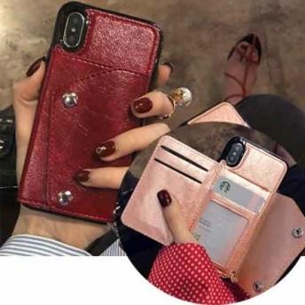 便利なカード入付!レザー調iPhoneケース iPhone6 iPhone6Plus iPhone7 iPhone7Plus iPhone8 iPhone8Plus iPhoneX XS XSMAX XR 対応