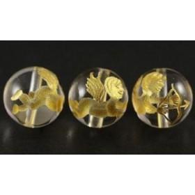 アクセサリー 製作パーツ 天使 キューピット 水晶金彫り 10mm玉ビーズ 一粒売り 天然石 パワーストーン