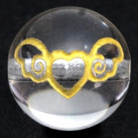 【彫刻ビーズ】エンジェルハート 水晶 10mm金彫り 天然石 パワーストーン
