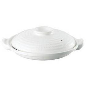 耐熱素焼浅型土鍋 白塗 26cm