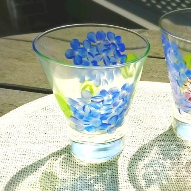 【紫陽花】5月6月の花 アジサイあじさいグラス1個 母の日・父の日・両親贈呈品・結婚祝い・退職祝い・新居祝い・結婚記念日