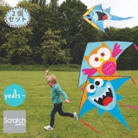 Scratch スクラッチ カイト シャーク&オウル ~ 3歳、4歳の男の子、女の子の誕生日に人気。スカイカイト(凧・たこ)2個セット。