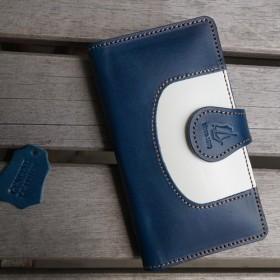 [全機種対応] iPhone Xperia 手帳型 クッション スマホケース ツートン [SK03 Blue]