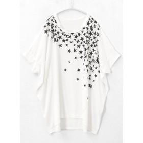 Tシャツ - HAPPY急便 by VERITA. JP 存在感のあるプリントで、個性が輝く!アシンメトリーな星柄 ゆるTシャツ/tシャツ トップス カットソー 星 レディース 大きいサイズゆったり