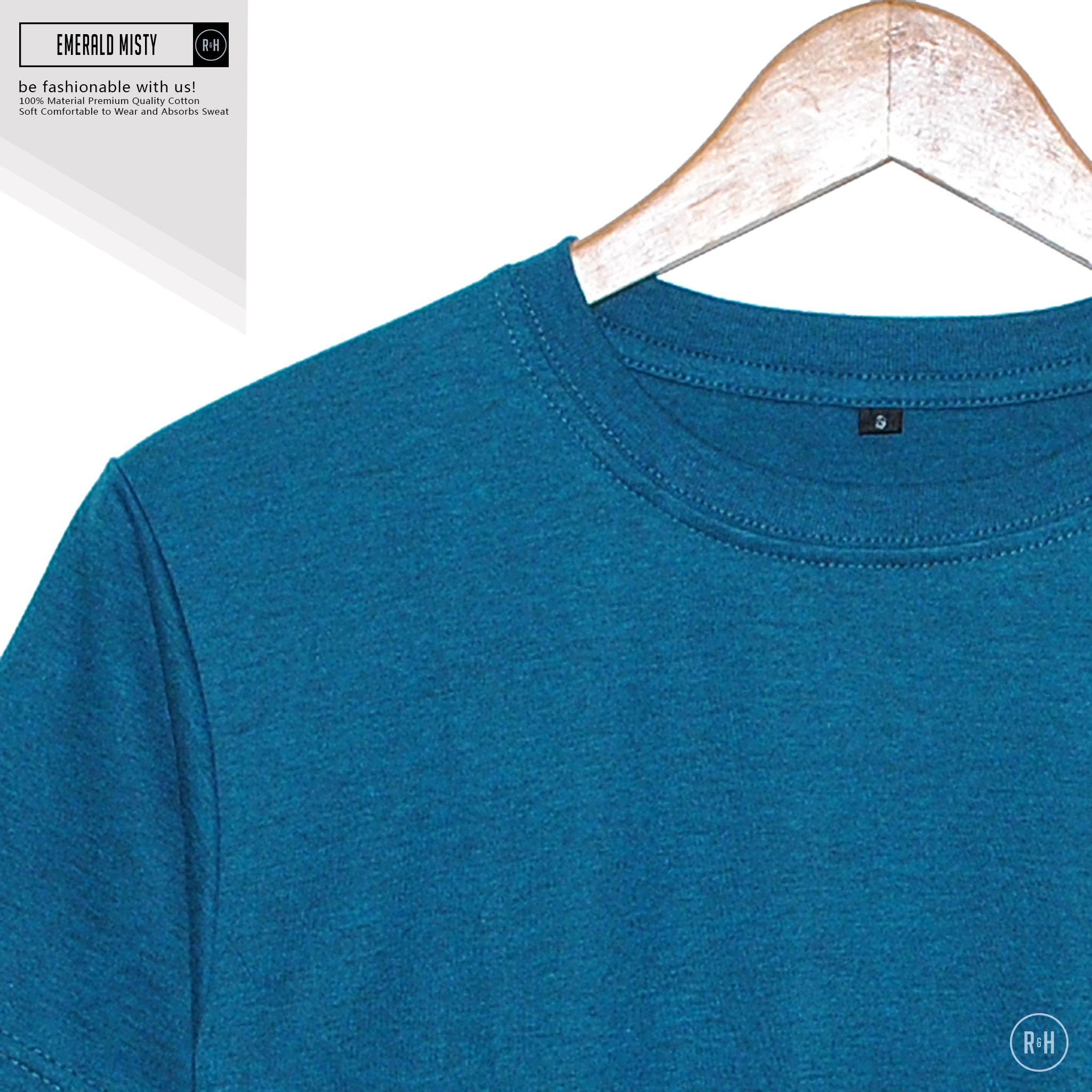 Rh Fashion Shop Line Kaos Polos Navy Misty Emerald O Neck Unisex