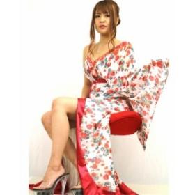 キャバドレス シフォン アシンメトリー 和風デザイン 着物ドレス 美姿 花魁 ロングドレス
