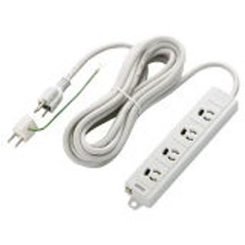 エレコム 電源タップ RoHS対応抜け止めPCタップ 3P→2P変換アダプタ付 3P式/4個口/5m/ホワイト T-ECOH3450NM 1個
