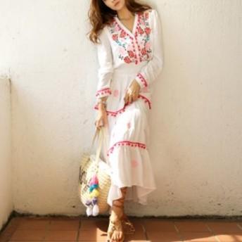 花柄 サマードレス ボヘミアン 長袖 ホワイト ワンピース ドレス パーティ リゾート 二次会 きれいめ 20代 30代40代 大きい