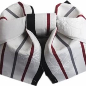 簡単浴衣ゆかた柄結び帯付け帯作り帯淡グレー色地八重桜ライン 巻いてポン 女性用レディース 日本製