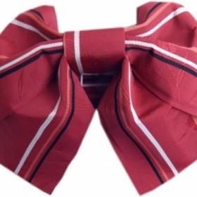 簡単浴衣ゆかた柄結び帯付け帯作り帯濃赤色地撫子ライン 巻いてポン 女性用レディース 日本製