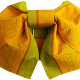 簡単浴衣ゆかた柄結び帯付け帯作り帯橙色黄緑色地麻の葉桜ライン 巻いてポン 女性用レディース 日本製
