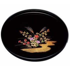 紀州漆器 10.0丸盆 黒 秋草 23136