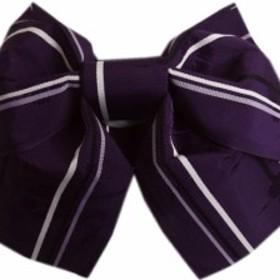 簡単浴衣ゆかた柄結び帯付け帯作り帯濃紫色地撫子ライン 巻いてポン 女性用レディース 日本製