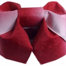 簡単浴衣ゆかた柄結び帯付け帯作り帯赤色ぼかし桜地模様 巻いてポン 女性用レディース 日本製