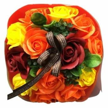 シャボンフラワー ソープフラワー お花ギフト 石鹸ローズブーケ オレンジ プレゼント