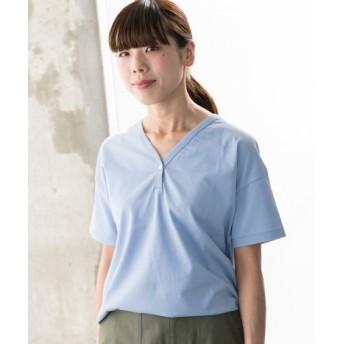 WORK NOT WORK(ワークノットワーク) トップス Tシャツ・カットソー コットン/ナイロン VネックヘンリーTシャツ