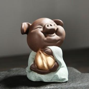 置物 茶寵 茶玩 中国茶道具 ニコニコ笑顔のブタさん (グリーン)