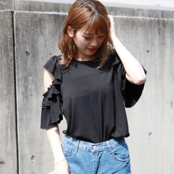 Tシャツ - CELL 袖オープンカットフリルトップス カットソー Tシャツ ストレッチ オープンショルダー 袖カット