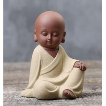 置物 茶寵 茶玩 中国茶道具 端正な顔の和尚 瞑想 (イエロー)