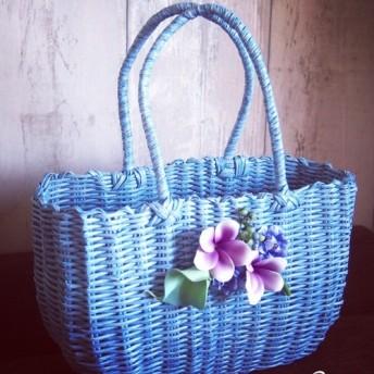 カラーとプルメリアのパステルカゴバッグ