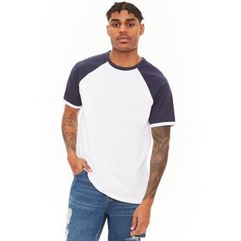 Tシャツ - FOREVER 21【MEN】 【カラーブロックラグランTシャツ】Tシャツ カットソー ロゴ 柄 白 ホワイト 紺 ネイビー 青 ブルー XS S M L おしゃれ半袖tシャツ