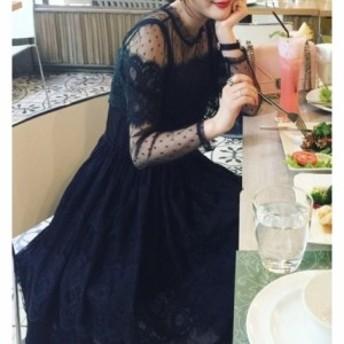 レース シースルー ハイネックドレス