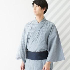 ふりふメンズ浴衣「片身ストライプ」レディースインディゴブルーM【FURIFU】