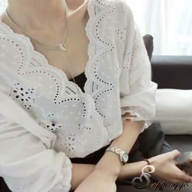 カットソー - shoppinggo カットソー 刺繍ブラウス シースルー プルオーバーゆったり 着やせ Vネック 袖フリル