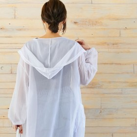 コーディガン - Re: EDIT 涼感溢れる透け感が魅力のロングガウンシャツ トランスペアレントフード付きロングガウンシャツ アウター/カーディガン