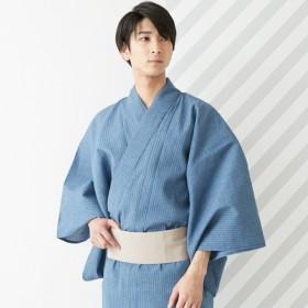ふりふメンズ浴衣「片身デニムストライプ」メンズブルーM【FURIFU】