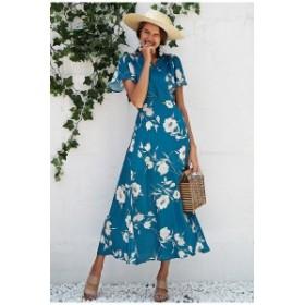 Vネック フレア ラップスカート ブルー ホワイト ワンピース ドレス パーティ リゾート 二次会 きれいめ 20代 30代 大きい