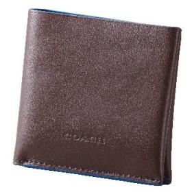 【コーチ】2つ折り財布(メンズ) ダークブラウン&ブルー