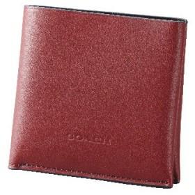 【コーチ】2つ折り財布(メンズ) ボルドー&ブラック