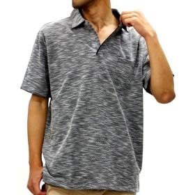 ポロシャツ - MARUKAWA ポロシャツ オープンカラー 大きいサイズ メンズ 夏 無地 ブラック/ネイビー 2L/3L/4L/5L【シンプル きれいめ清潔感半袖】