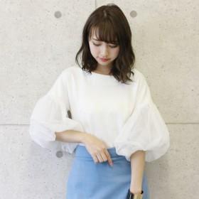 カットソー - CELL ポンチ素材袖バルーンカットソー チュール袖 チュールスリーブ 変わり袖トップス