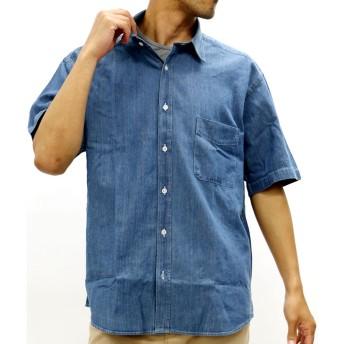 シャツ - MARUKAWA デニム シャツ 大きいサイズ メンズ 夏 半袖 ブルー/ネイビー 2L/3L/4L/5L【シンプル きれいめ 清潔感】