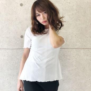 Tシャツ - CELL リブニットソーメローAライントップス 半袖 フレア 変わりシンプルトップス