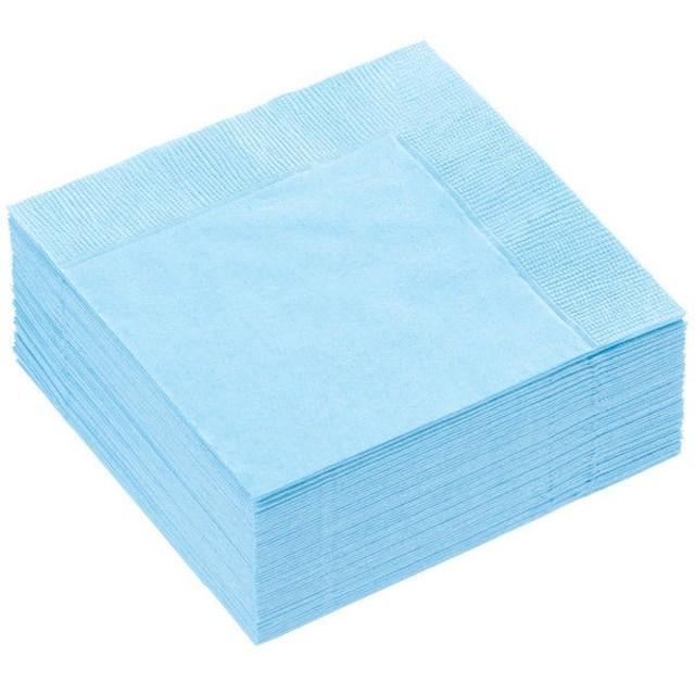 溝端紙工印刷 カラーナプキン 4つ折り 2PLY アクアブルー 1袋(50枚入)